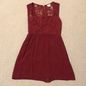 Wine Red square Neck Dress
